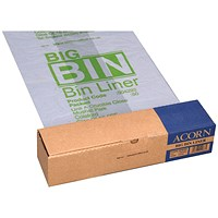 Acorn Reusable Bin Liners, Heavy Duty, 160 Litre, 760x1200mm, Clear & Printed, Roll of 50