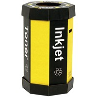 Acorn Cartridge Recycling Bin 60 Litre Black/Yellow (Pack of 5)