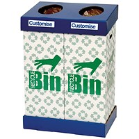 Acorn Office Twin Recycling Bin Blue/Green (95 litres each bin)