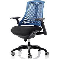 Flex Task Operator Chair, Black Frame, Black Seat, Blue Back