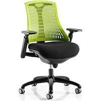 Flex Task Operator Chair, Black Frame, Black Seat, Green Back