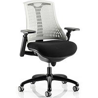 Flex Task Operator Chair, Black Frame, Black Seat, Off- white Back