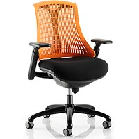 Flex Task Operator Chair, Black Frame, Black Seat, Orange Back