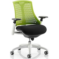 Flex Task Operator Chair, White Frame, Black Seat, Green Back