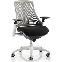 Flex Task Operator Chair, White Frame, Black Seat, Grey Back