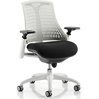 Flex Task Operator Chair, White Frame, Black Seat, Off- white Back