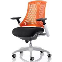 Flex Task Operator Chair, White Frame, Black Seat, Orange Back
