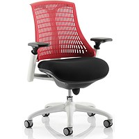 Flex Task Operator Chair / White Frame / Black Seat / Red Back / Built