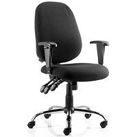 Lisbon Task Operator Chair with Arms, Black, Assembled