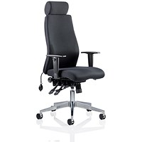 Onyx Ergo Posture Chair with Headrest, Black, Assembled