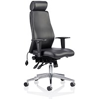 Onyx Ergo Leather Posture Chair with Headrest, Arms, Black, Built