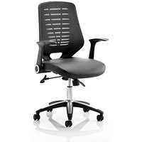 Relay Leather Chair with Folding Arms - Black