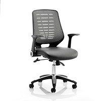 Relay Leather Chair with Folding Arms - Silver