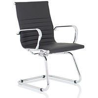 Nola Leather Cantilever Chair - Black