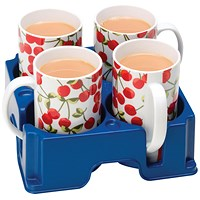 Blue 4 Mug Drinks Holder / Carrier - (Made from tough, 100% recyclable polypropylene)