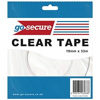 GoSecure Small Tape 19mmx33m Clear (Pack of 12)