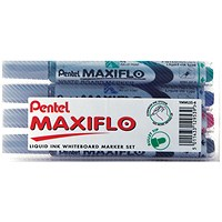 Pentel Maxiflo Whiteboard Marker Fine Assorted (Pack of 4)