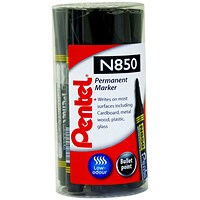 Pentel N850 Permanent Black Bullet Tip Marker (Pack of 12)