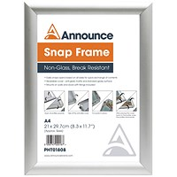 Announce A4 Snap Frame (25mm anodised aluminium frame, Wall fixings included)