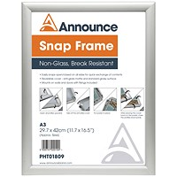 Announce A3 Snap Frame (25mm anodised aluminium frame, Wall fixings included)