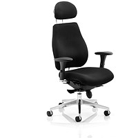 Chiro Plus Ergo Posture Chair with Headrest, Black, Assembled