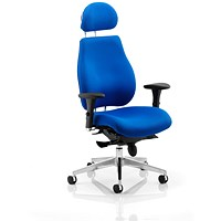 Chiro Plus Ergo Posture Chair with Headrest, Blue, Built
