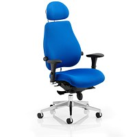 Chiro Plus Ultimate Chair with Headrest, Arms, Blue, Built