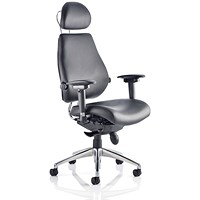Chiro Plus Ultimate Leather Chair with Headrest, Black, Built