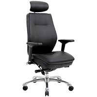 Domino Leather Operator Chair, With Headrest, Black