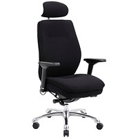 Domino Operator Chair, With Headrest, Fabric, Black