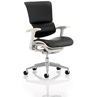 Ergo- Dynamic Posture Chair, Grey Frame, Leather, Black