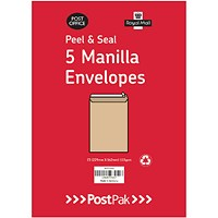 Envelopes C4 Peel & Seal Manilla 115Gsm (Pack of 5) POF27428