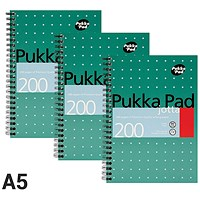 Pukka Pad Wirebound Jotta Notebook, A5, Ruled, 200 Pages, Pack of 3