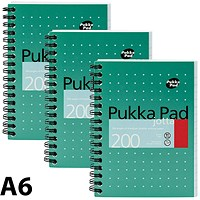 Pukka Pad Wirebound Jotta Notebook, A6, Ruled, 200 Pages, Pack of 3