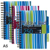Pukka Pad Wirebound Project Notebook, A5, Ruled, 250 Pages, 3-Divider, Assorted, Pack of 3