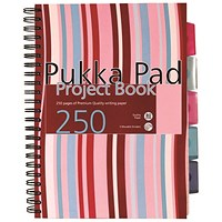 Pukka Pad Stripes Wirebound Hardback Project Notebook 250 Pages A4 Blue/Pink (Pack of 3)