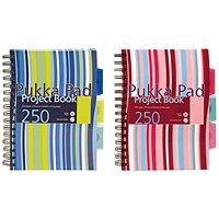 Pukka Pad Stripes Wirebound Hardback Project Notebook 250 Pages A5 Blue/Pink (Pack of 3)