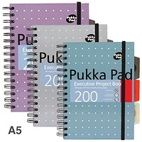 Pukka Pad Metallic Executive Project Book, A5, Ruled & Perforated, 200 Pages, Pack of 3