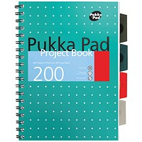 Pukka Pad Metallic Cover Wirebound Project Book A4+ (Pack of 3)