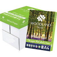 Woodland Trust A4 Office Paper, White, 75gsm, Box (5 x 500 Sheets)