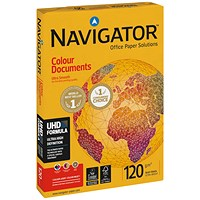 Navigator A4 Colour Documents Paper, White, 120gsm, Ream (250 Sheets)