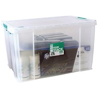 StoreStack Storage Box, Clear, 85 Litre