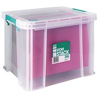 StoreStack Storage Box, Clear, 36 Litre