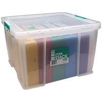 StoreStack Storage Box, Clear, 48 Litre