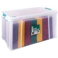 StoreStack Storage Box, Clear, 70 Litre