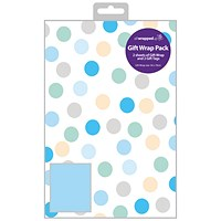 Regent Polka Dot Gift Wrap and Tag Blue (Pack of 12)