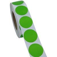 Blick Labels in Dispensers Round 19mm Green (Pack of 1280) RS011651