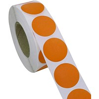 Blick Labels in Dispensers Round 19mm Orange (Pack of 1280) RS011859