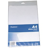 Stephens Coloured Card - White, A4, 210gsm, Pack of 80 Sheets