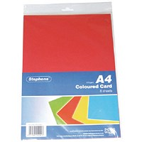 Assorted Coloured Card - Assorted Colours, A4, 210gsm, Pack of 80 Sheets
